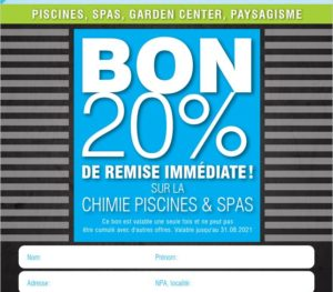 Bon de réduction 20% chimie Piscine et Spa